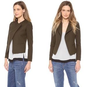 Vince high double closure wool jacket in olive